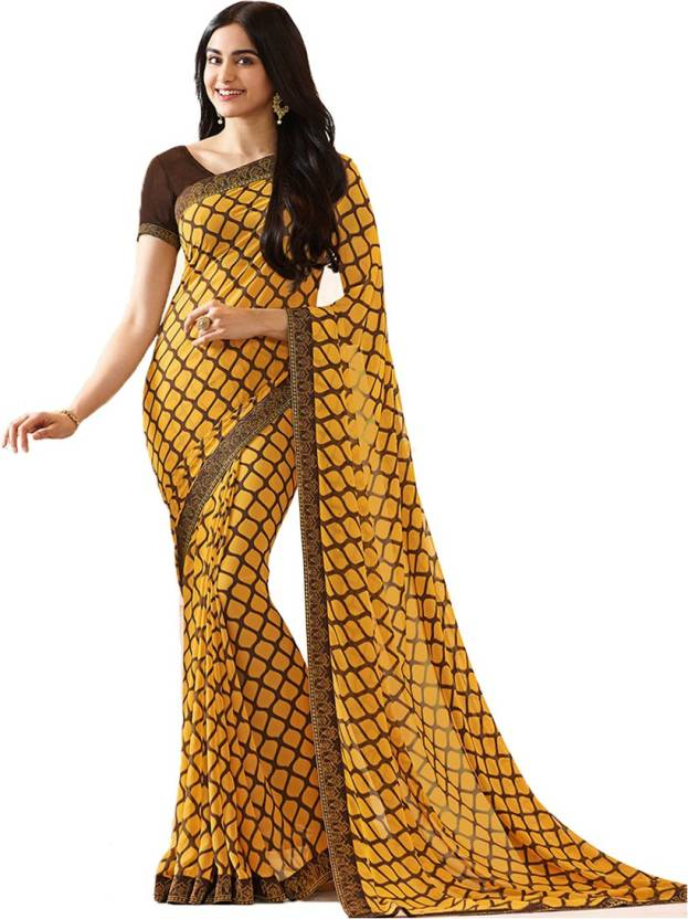 e4cc963042 Bombey Velvat Fab Printed Daily Wear Georgette, Chiffon Saree (Green)