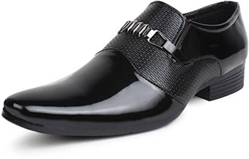 on feet images of value for money presenting BLACKMOON BLACKMOON black shining formal shoes for men(black ...