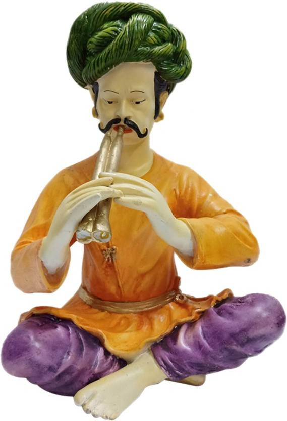 fabzone traditional rajasthani cultural man with pipni figurine