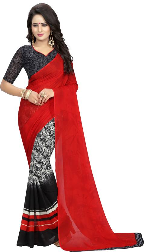 223f1a299febe Buy S.B Creation Printed Daily Wear Georgette Red Sarees Online ...