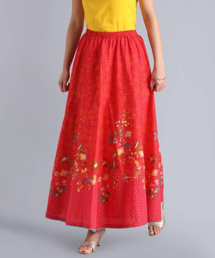389d2d34ee Biba Printed Women's Flared Orange Skirt - Buy RED Biba Printed ...