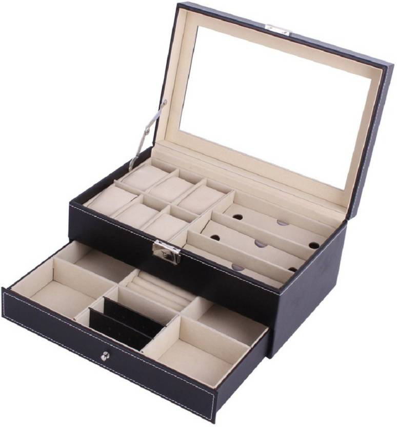 003f0c61ad8 Medetai Double Layers PU Leather 6+3 Grids Watch Holder Storage Glasses  Organizers Casket Jewelry Display Luxury Gifts Watch Box (Brown