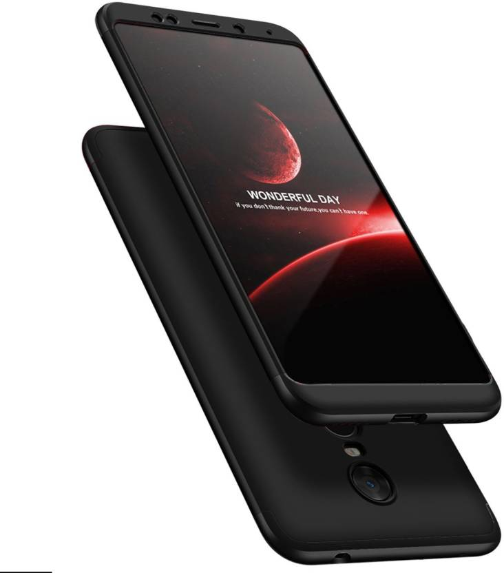 the best attitude 1b97a 14dd5 HRV Front & Back Case for Mi Redmi Note 5 (3-In-1) Slim Fit Complete 3D 360  Degree Protection Bumper (Full Black))