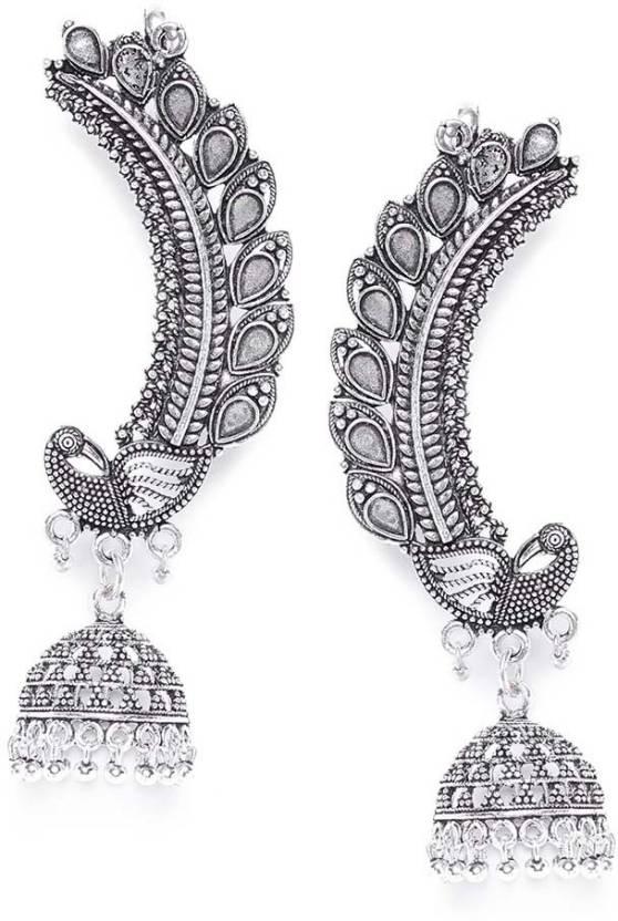 41e0228ab Flipkart.com - Buy ZeroKaata Peacock Embellished Designer Tribal Jewellery  Earrings cum Ear cuffs German Silver Dangle Earring Online at Best Prices  in ...
