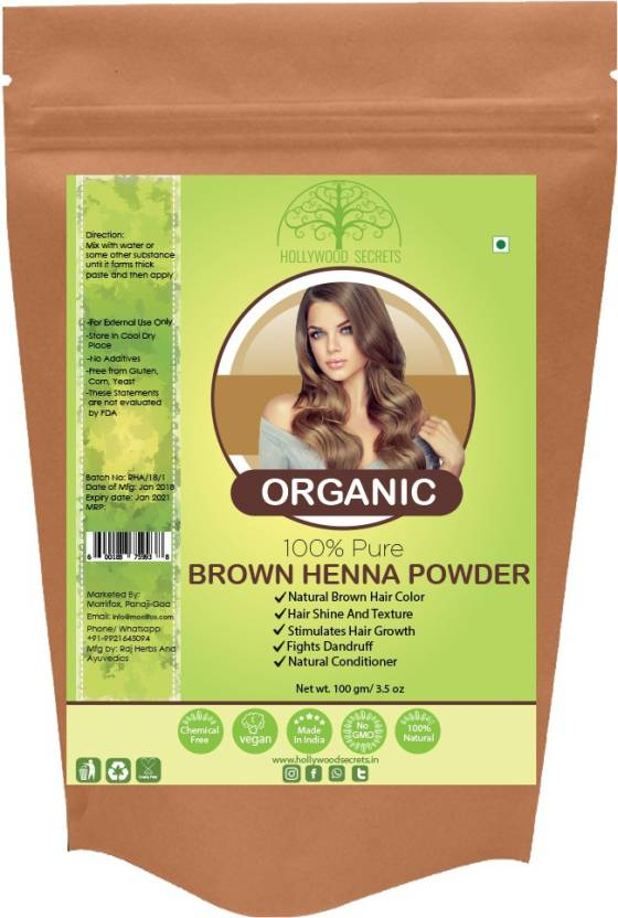 Hollywood Secrets 100 Natural Organic Brown Henna Powder For Hair