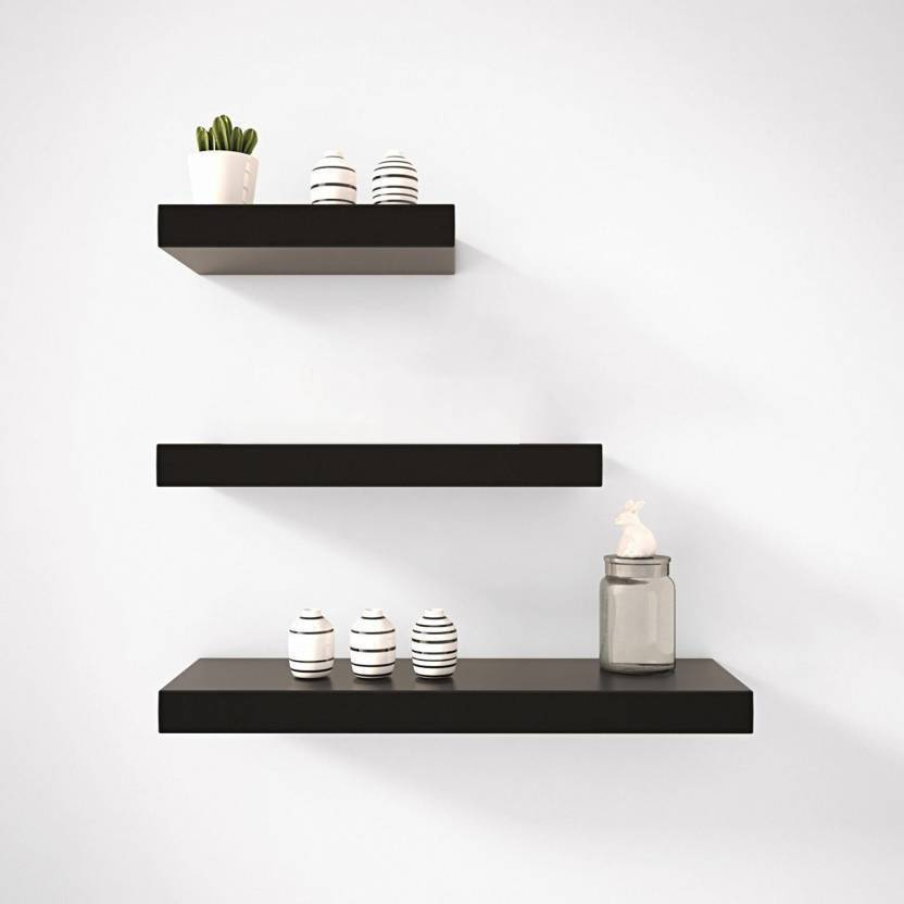 Martemporium Beautiful Wall Shelf Wooden Number Of Shelves 3 Black