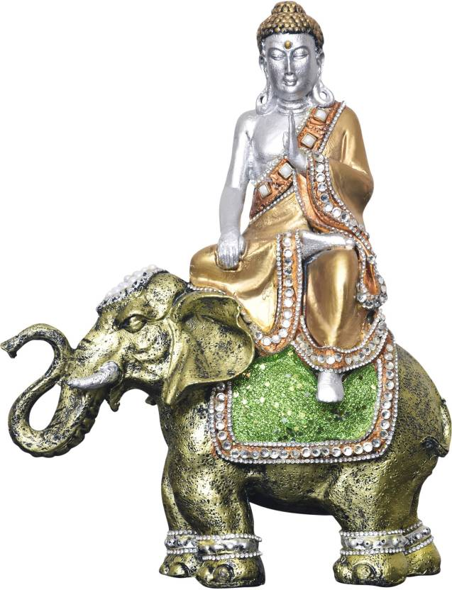MARINERS CREATION DIVINE BUDDHA SISTATUE SITTING ON ELEPHANT FOR HOME DECOR STATUE LIVING ROOMBEDROOM