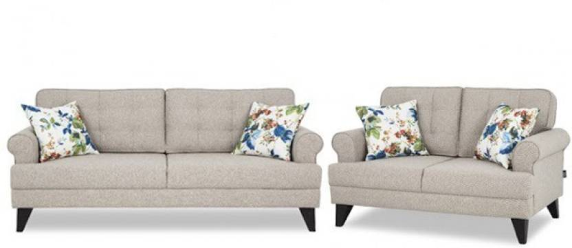 HomeTown Miller Fabric Sofa Three Seater + Two Seater in Beige Combo Fabric  3 + 2 Beige Sofa Set