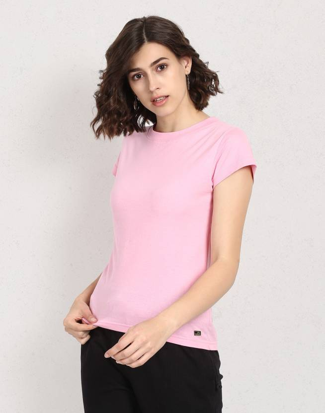 118653f51e2 Metronaut Solid Women Round Neck Pink T-Shirt - Buy Metronaut Solid Women  Round Neck Pink T-Shirt Online at Best Prices in India