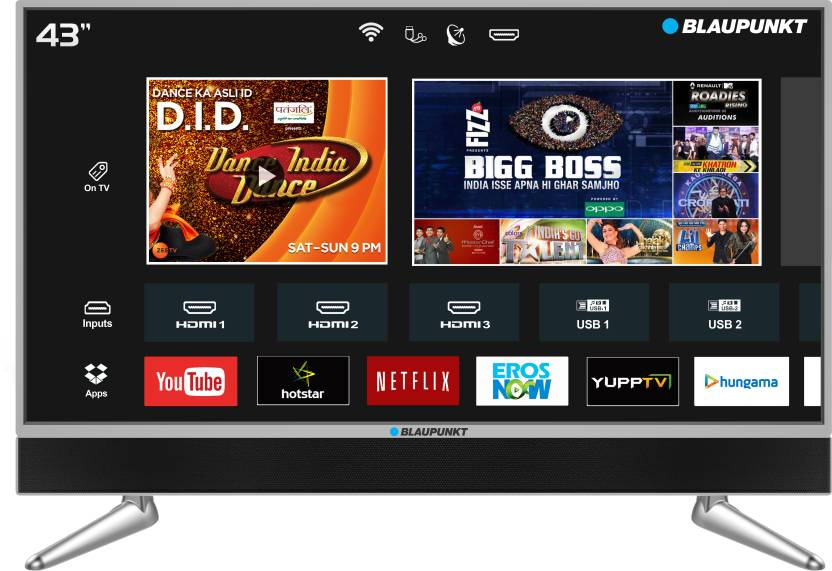 Blaupunkt 109cm  43 inch  Ultra HD  4K  LED Smart TV with In built Soundbar BLA43AU680  Blaupunkt Televisions