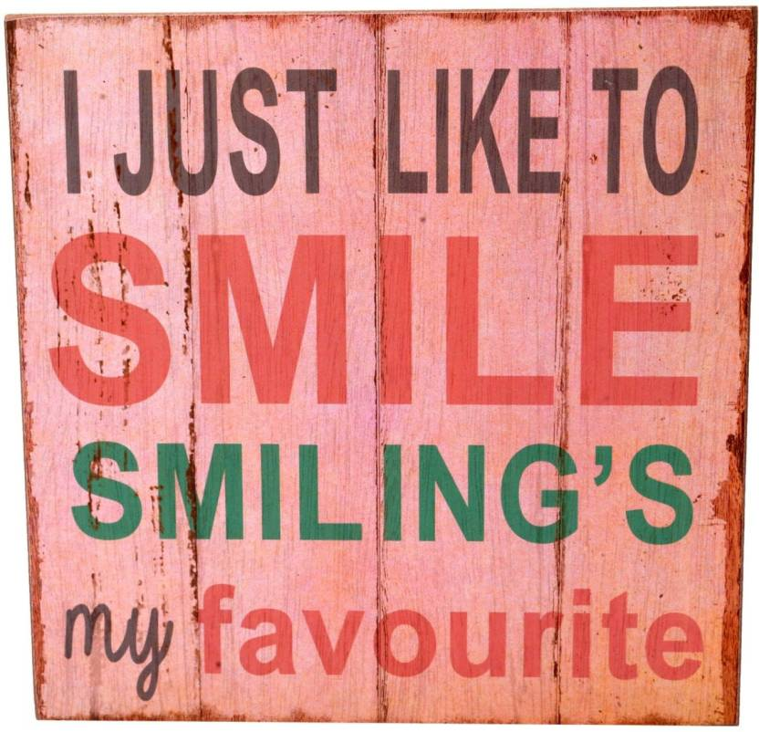 Scrafts Smile Pink Wooden Wall Plaque Wall Art Poster Kitchen Use