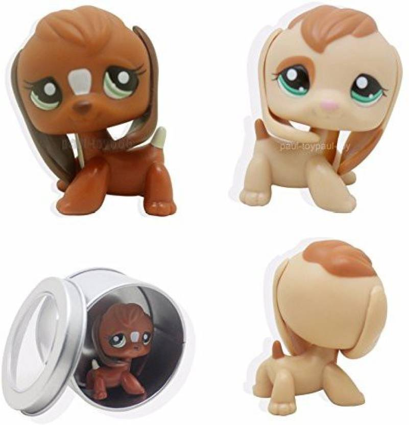 Littlest Pet Shop Good Luck Store Lps 2Pcs Cocker Spaniel Puppy Dog Black 2Pcs Brown Beagle Puppy Dog Green Eyes Cat Lps Rare +Gift Box (Multicolor)