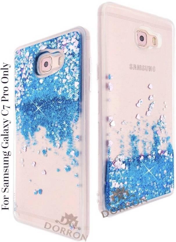 167213349 DORRON Back Cover for Samsung C7 Pro Glitter Stylish Designer Transparent  Liquid Waterfall Soft Sides Case For Girls (Blue
