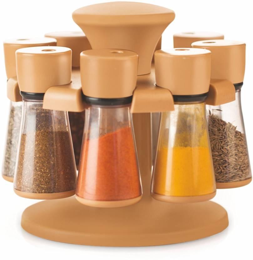 96f2f7a6e94d Floraware 8-Jar Revolving Spice Rack Masala Box, Light Brown Condiment Set