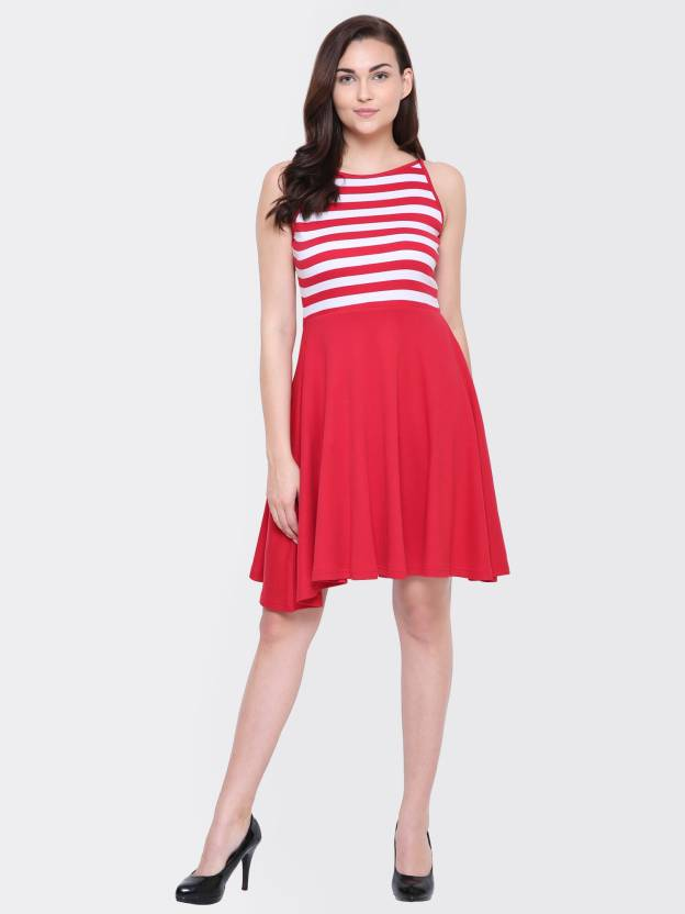 b9249e4c11f Yaadleen Women Fit and Flare Red Dress - Buy Yaadleen Women Fit and ...