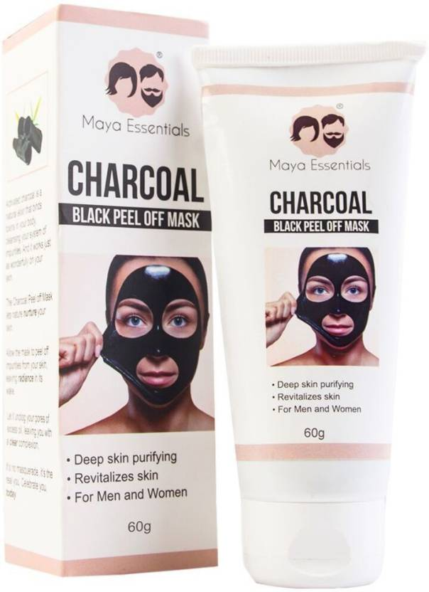 Maya Essentials Activated Charcoal Peel Off Black Mask - Blackhead remover, Deep Purifying Pore Cleansing for Face Nose Acne Pimple Oily Skin - 60ml, ...