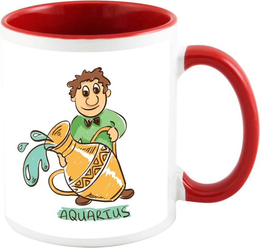 AllUPrints Aquarius Birthday Zodiac Sign Red Ceramic Mug