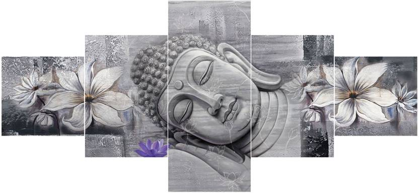 Craft Junction Lord Buddha Premium LARGE 5 PANEL Ink 23 inch x 50 inch Painting