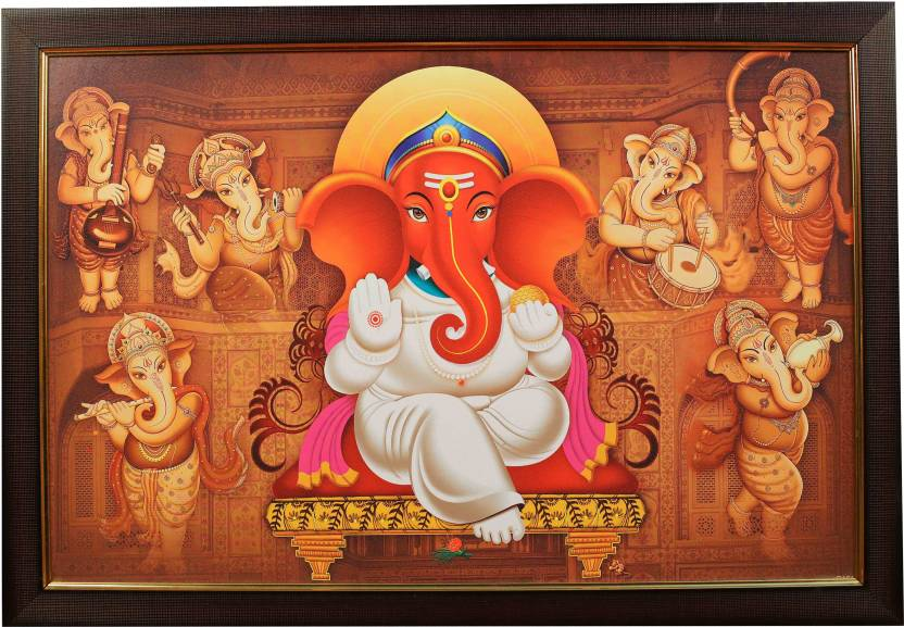 Shri Om God Ganapathi Photo Frame 12 X 18 Ready For Wall Mount