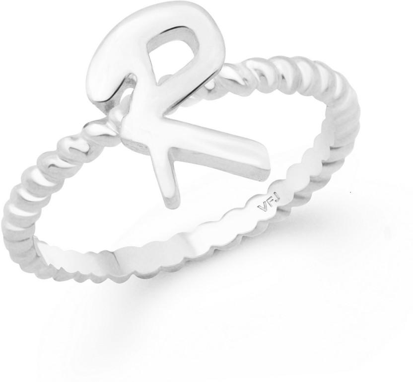 Vighnaharta Stylish Spiral Shank R Alphabet Finger Ring For Women