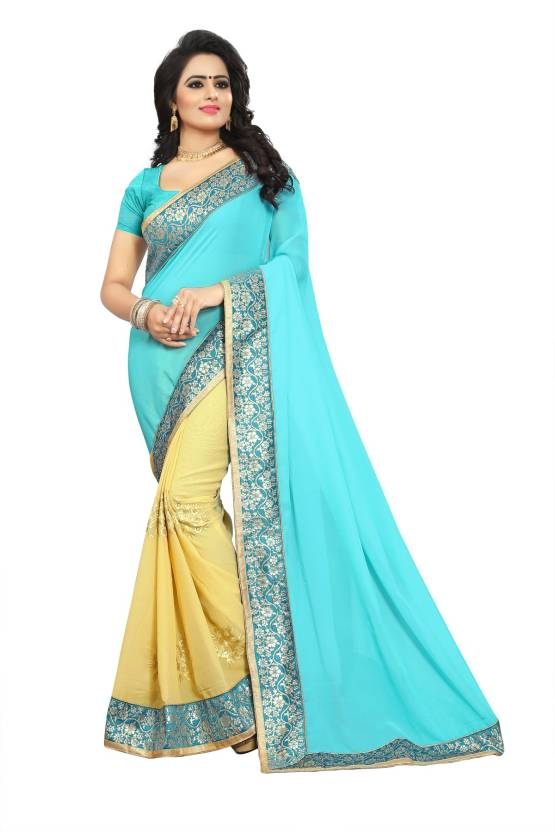 bbccf0602e Bhuwal Fashion Embroidered Bollywood Faux Georgette Saree (Beige, Blue)