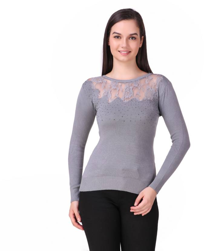 3d31d9bf12 ... Self Design Round Neck Casual Women s Grey Sweater - Buy Christy World  Self Design Round Neck Casual Women s Grey Sweater Online at Best Prices in  India ...