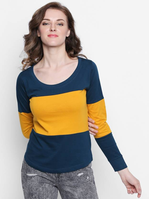 Women's Round Neck Multicolor T-Shirt