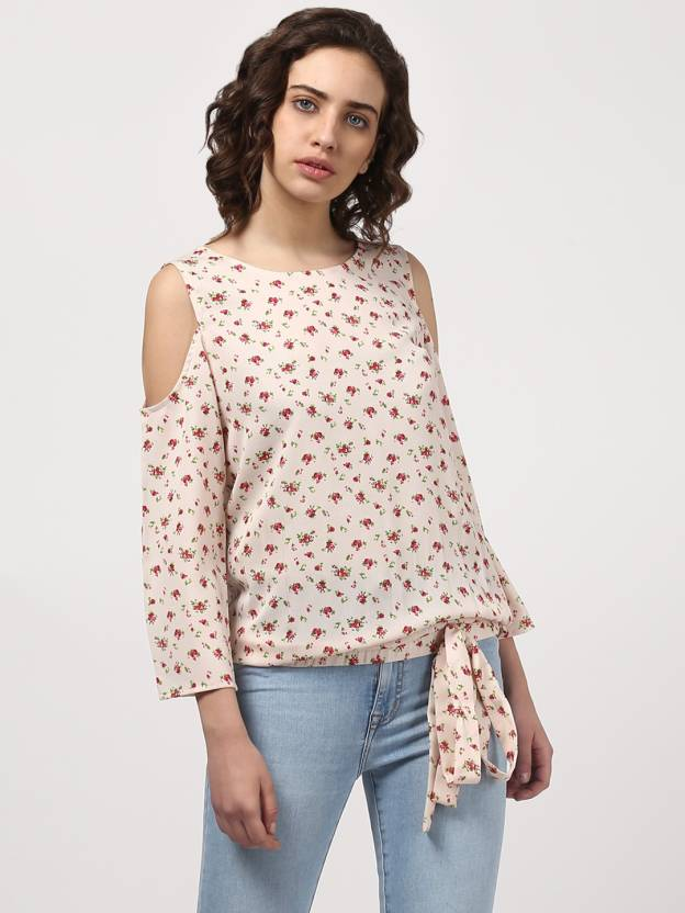 c99ced0c5a103 Harpa Casual Cold Shoulder Printed Women s White Top - Buy Harpa ...