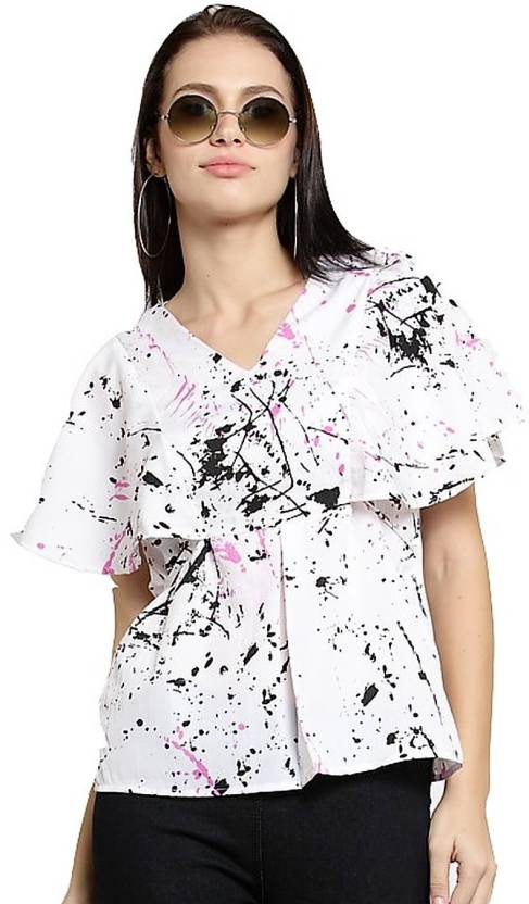 accb3a609e2 indietoga Casual Flutter Sleeve Printed Women s White Top - Buy indietoga  Casual Flutter Sleeve Printed Women s White Top Online at Best Prices in  India ...