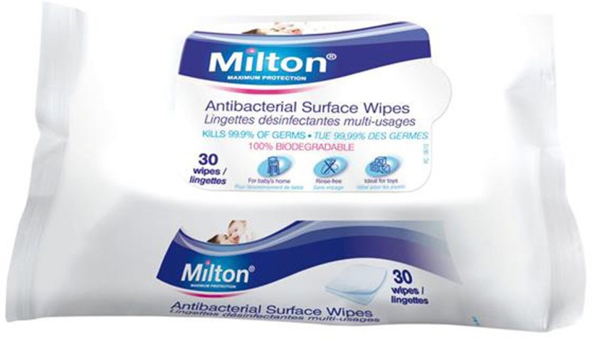 SEVEN PACKS of Milton 30 Antibacterial Surface Wipes