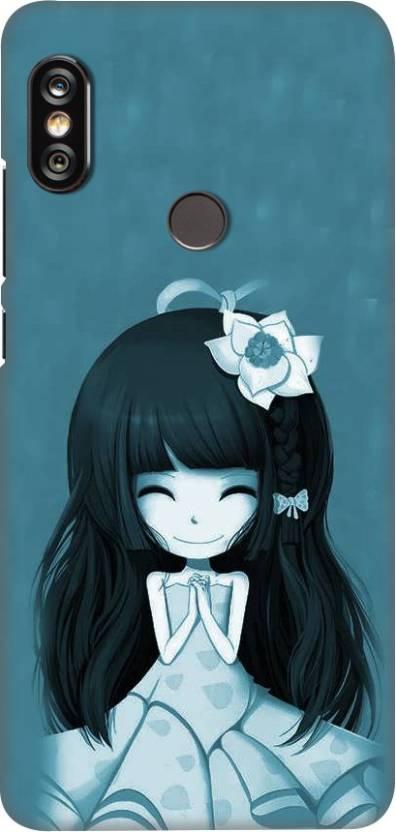 OBOkart Back Cover for Mi Redmi Note 5 Pro Cartoon blue girl, Shock Proof, Plastic