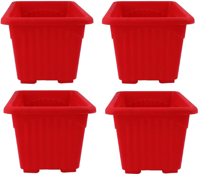 Meded Garden Essential Plastic Super Planter/ Pots (Square 10-inch Red Pack of 4) Plant Container (Plastic External Height - 24.5 cm)  sc 1 st  Flipkart & Meded Garden Essential Plastic Super Planter/ Pots (Square 10-inch ...