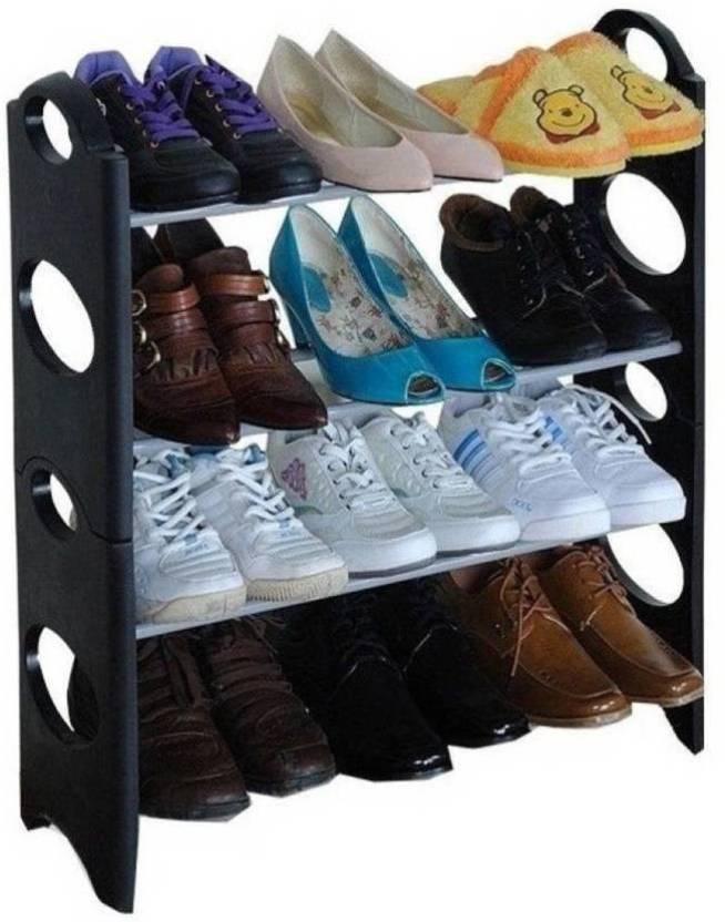 b7a607afc1 LS Letsshop Portable Folding Shoes Rack 4 LAYER 12 pair shoe Plastic ...