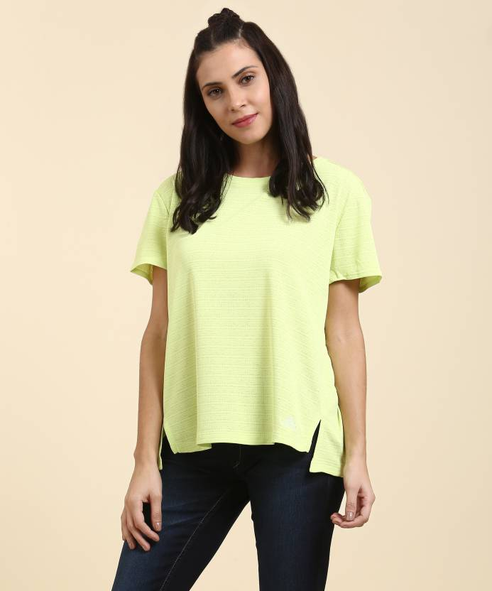 35b877b9e4a ADIDAS Self Design Women's Round Neck Light Green T-Shirt - Buy yellow  ADIDAS Self Design Women's Round Neck Light Green T-Shirt Online at Best  Prices in ...