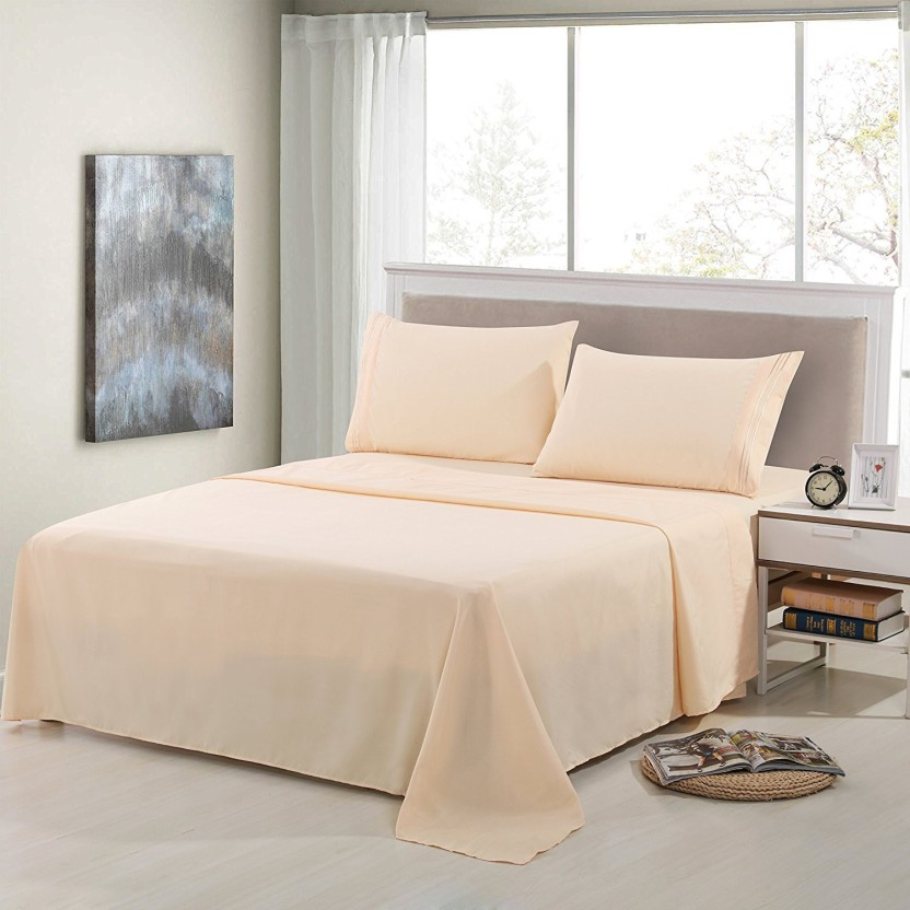 Linenwalas 300 TC Silk Double King Plain Bedsheet