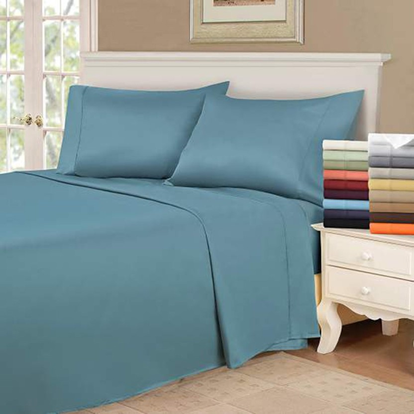 Linenwalas 300 TC Silk Double King Plain Bedsheet