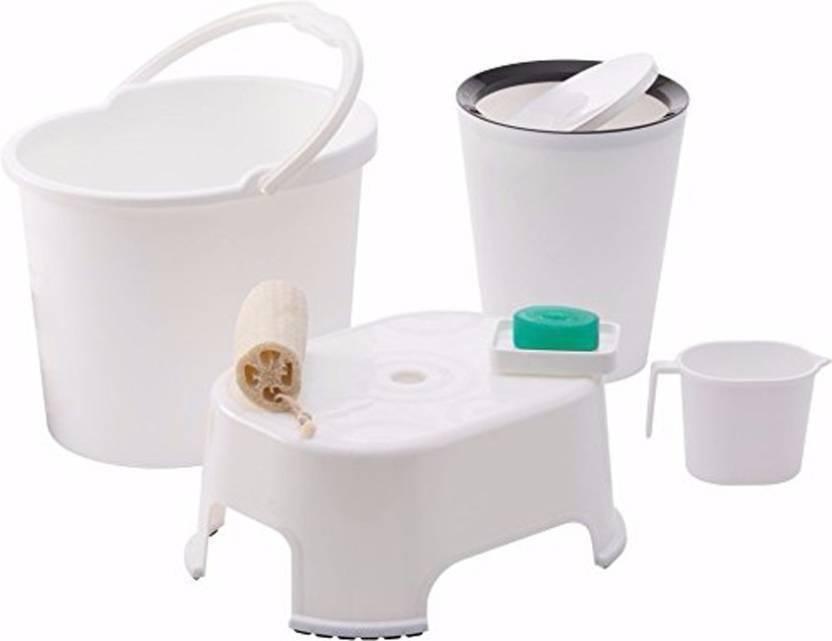 Bathroom Accessories.Varmora Ultramorden Design Bathroom Accessories 5 Pcs Set White Balti 17 5 Ltr Round Waste Container 8 5 Ltr Mug 1 Ltr Soap Dish Comfort Stool