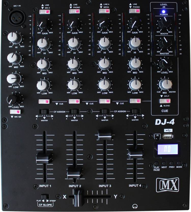 MX Professional Four 4 Channel Dj Mixing Console Mixer W