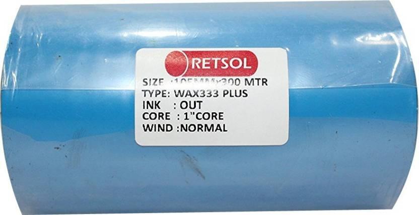 Retsol 105 mm X 300 Meters Thermal Transfer Non-Adhesive Barcode Labels  Ribbon Premium Wax For Printer TSC, Zebra, Citzen, Datamax, Thosiba, Sato  Etc