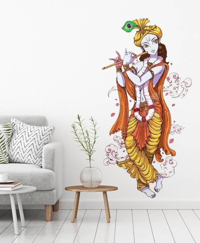 ea14b97413 khirki Medium Lord Krishna with Flute PVC Wall Sticker, 90x60cm Sticker  (Pack of 1)