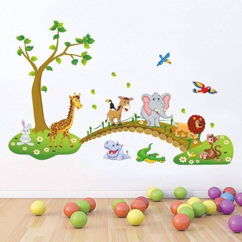 Khirki Medium Jungle Animals Kids Wall Stickers For Paper 120 Cm X 02