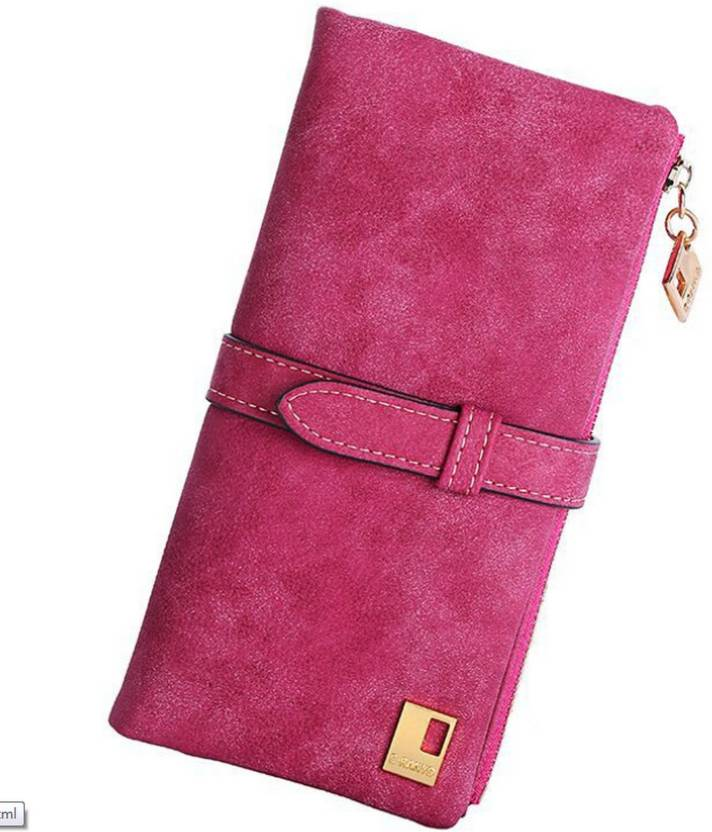 Elios Women Casual Pink Artificial Leather Wallet (11 Card Slots)