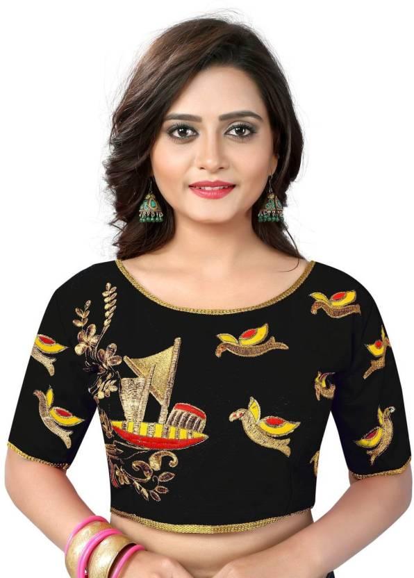 1da1d35913385 Shreeji Designer Boat Neck Women s Stitched Blouse - Buy Shreeji Designer Boat  Neck Women s Stitched Blouse Online at Best Prices in India