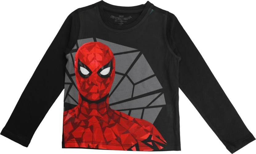 ce618ce0 Marvel Spider Man Boys Graphic Print Cotton, Polyester T Shirt (Black, Pack  of 1)