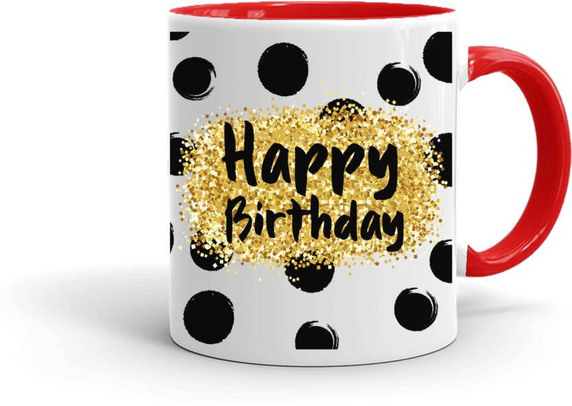 MUGKIN HB140 Happy Birthday Printed Gift For Friend Cousin Sister Daughter Brother Son Etc Inner RED 72R8800 Ceramic Mug 350 Ml