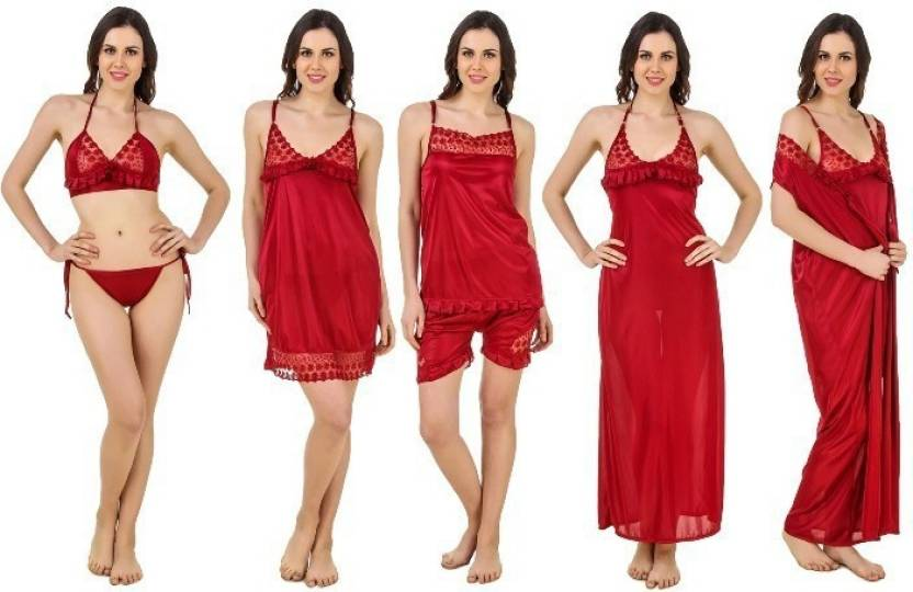 b00132976d Freely Women Nighty Set - Buy Maroon Freely Women Nighty Set Online ...