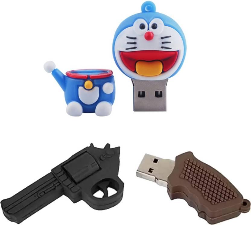 Green Tree Doraemon Fancy Pendrive 64 gb + Gun Shaped 64 GB Pen