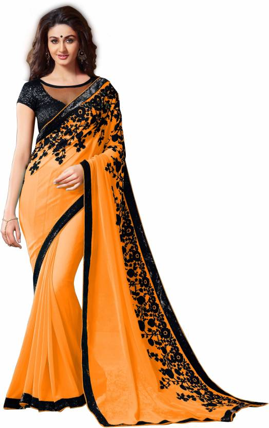 93a6d30004abcf Buy Monika Silk Mill Embroidered Daily Wear Georgette Gold Sarees ...