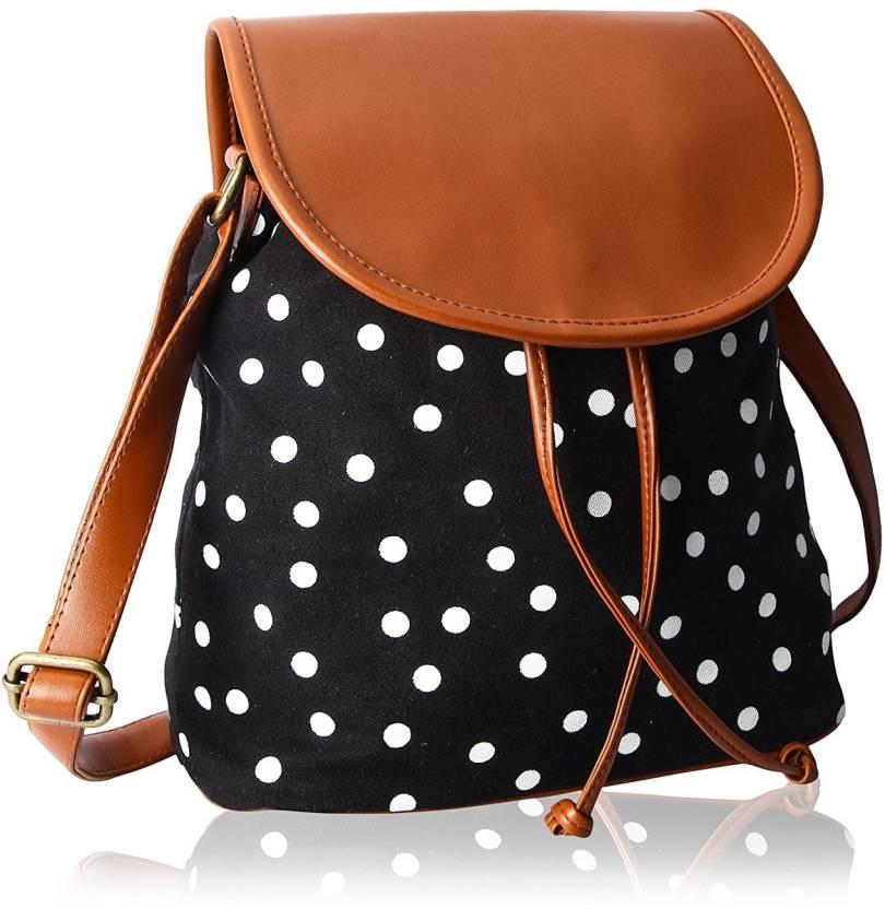 Kleio Women Casual Black Brown Pu Canvas Sling Bag