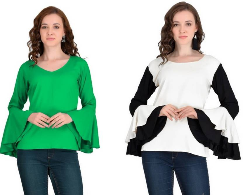 0ae1a91dbcda4 VAANYA Casual Bell Sleeve Solid Women s Multicolor Top
